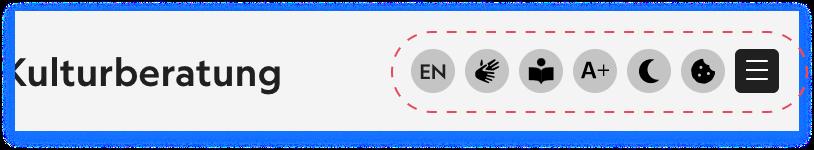 Screenshot mit den Symbolen zum Bedienen der Seite