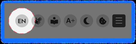 Screenshot mit dem Icon für den Sprachumschalter.