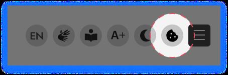 Screenshot mit dem Icon für den Cookie Consent