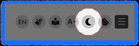 Screenshot mit dem Icon für den Dark Mode