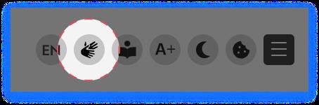 Screenshot mit dem Icon für die Gebärdensprache.