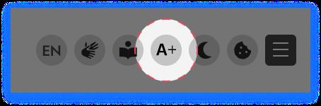 Screenshot mit dem Icon für das Ändern der Schriftgröße.