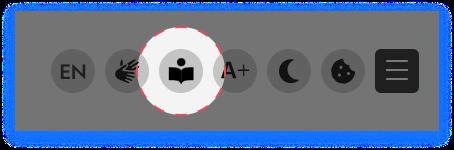 Screenshot mit dem Icon für die Leichtesprache.