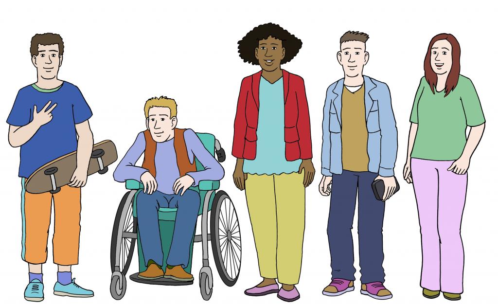 Eine diverse Gruppe von Jugendlichen. Eine Person of Colur, eine Person im Rollstuhl. Drei Weiße Personen ohne sichtbare Behinderung