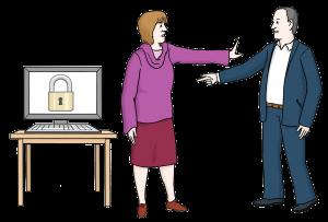 Symboldbild Datenschutz: Computerbildschirm auf dem ein vorhängeschloss zu sehen ist. Davor eine Frau, die mit abwehrender Haltung einem Mann beeutet, nicht auf den Computer zuzugreifen.