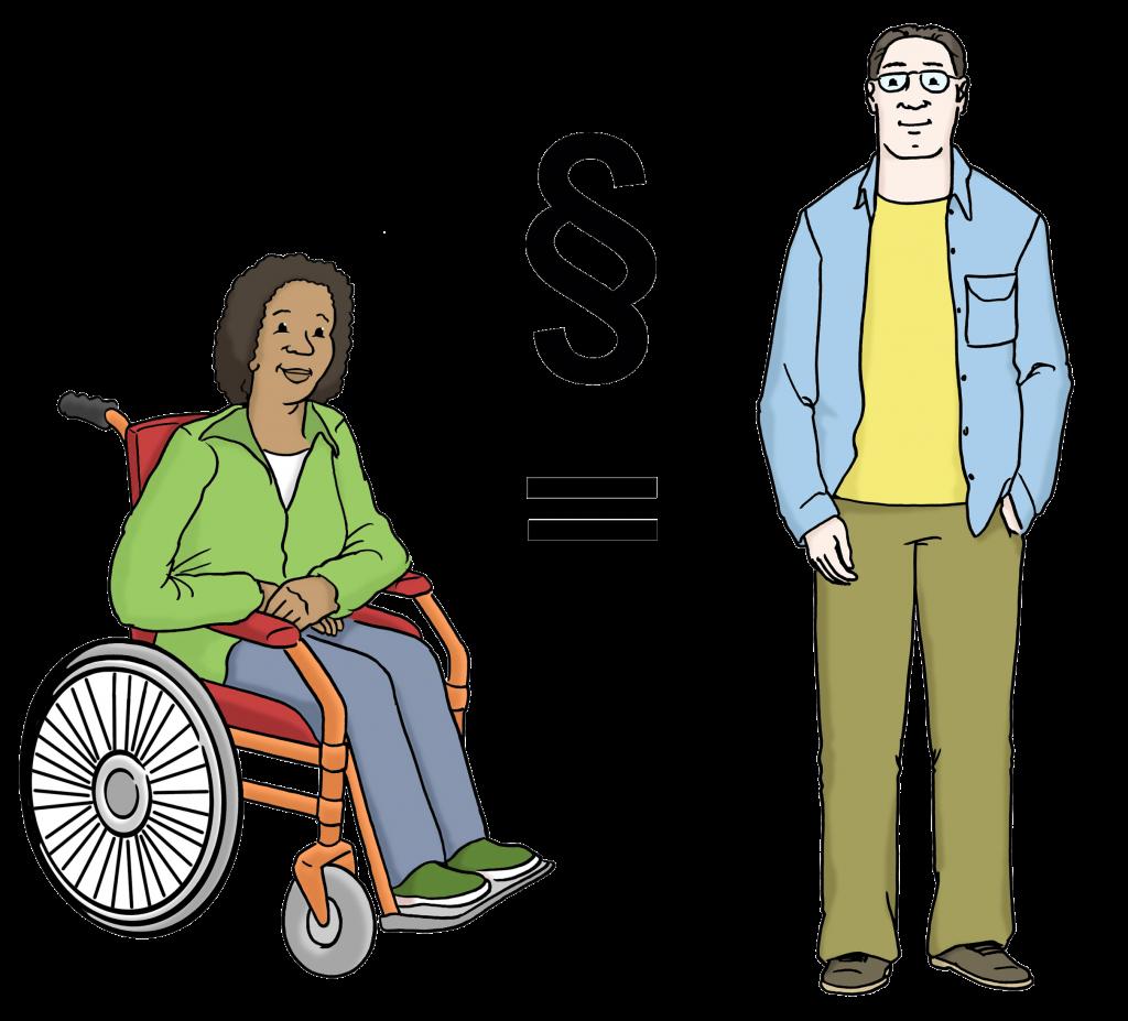Symbolbild zum Thea Gleichberechtigung: Eine Schwaze Person im Rollstuhl und ein Weißer Mann ohne sichtbare Behinderung. Dazwischen ein Gleichheitszeichen und Paragraph