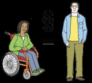 Symbolbild: Eine Schwaze Person im Rollstuhl und ein Weißer Mann ohne sichtbare Behinderung. Dazwischen ein Gleichheitszeichen und Paragraph