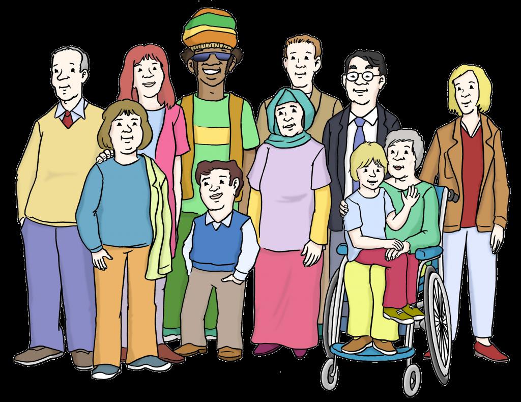 Diverse Gruppe von Menschen. Menschen verschiedenen Alters, mit und ohne Behinderung, Weiß und of Colour
