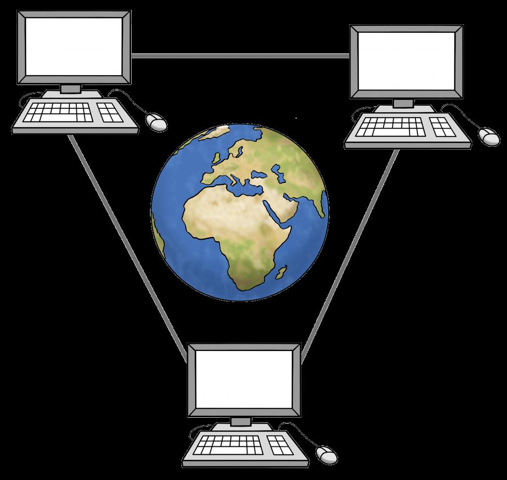 Symbolbild Internet: Drei Computer sind über Linien miteinaner verbunden. In der Mitte ist ein Globus.