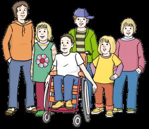 Gruppe von Kinder und Jugendlichen mit und ohne Behinderung