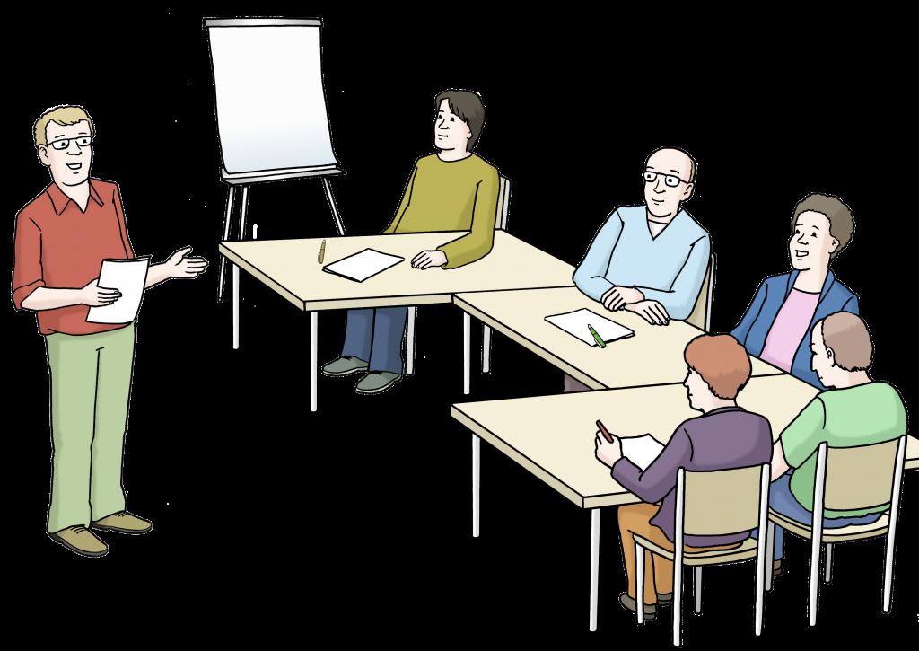 Workshopsituation: Fünf Personen sitzen in einem Semianrraum mit Flipchart an einem Tisch und hören einem Vortragenden zu