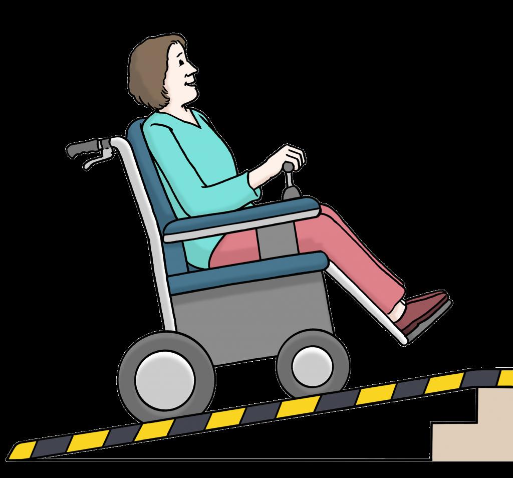 Frau im Rollstuhl nutzt Rampe