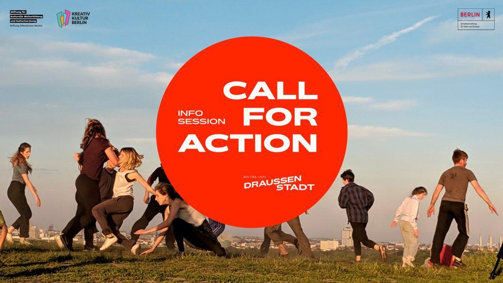 Verschiedene junge Menschen tanzen im Freien. In der Mitte ist das Logo des Call for Action von Draussenstadt zu sehen. Ein hellroter Kreis mit weißem Schriftzug.