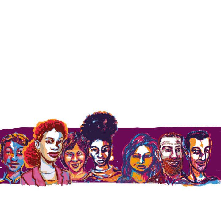 "Gruppe mit 7 Personen of Color, den 7 Personas der Studie ""Berliner Erfahrungen, Berliner Erwartungen"""